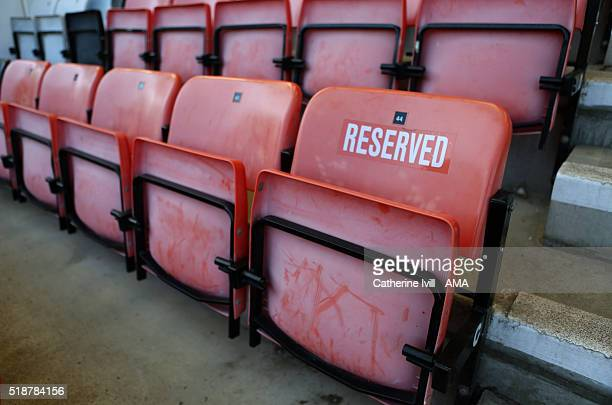 General view of a reserved seat before the Barclays Premier League match between AFC Bournemouth and Manchester City at Vitality Stadium on April 2...