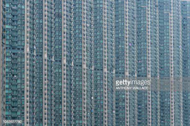 TOPSHOT A general view of a residential building complex is pictured in Hong Kong on October 19 2018