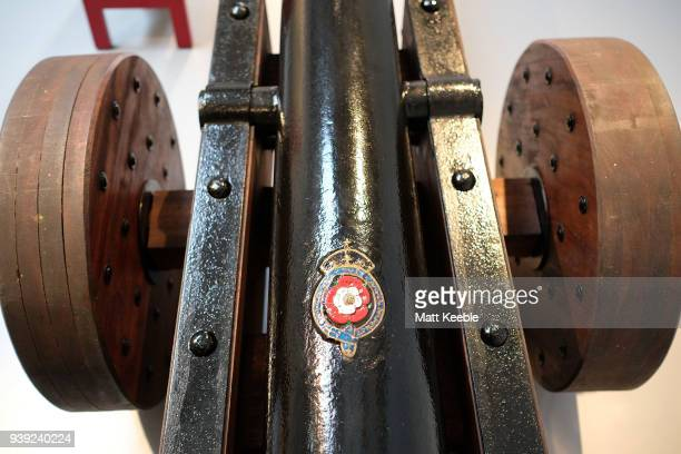 General view of a restored cannon on March 28 2018 in Falmouth England English Heritage are warning that many of the historic cannons around the...