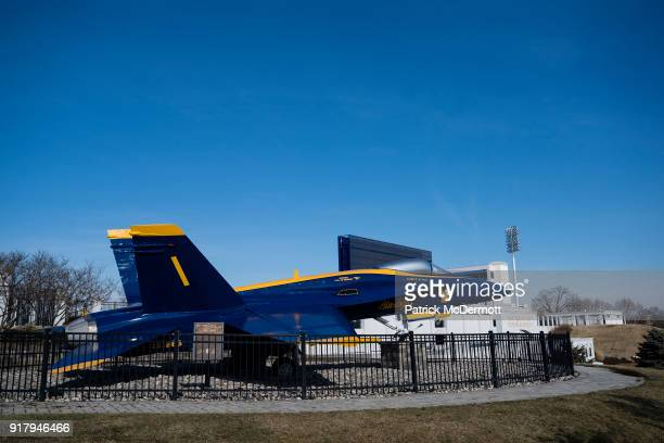 A general view of a retired Blue Angels F/A18 Hornet during a tour of the NavyMarine Corps Memorial Stadium the site of the 2018 Coors Light NHL...