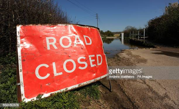 General view of a road closed sign due to a flooded Ford near to the Village of Bucklebury