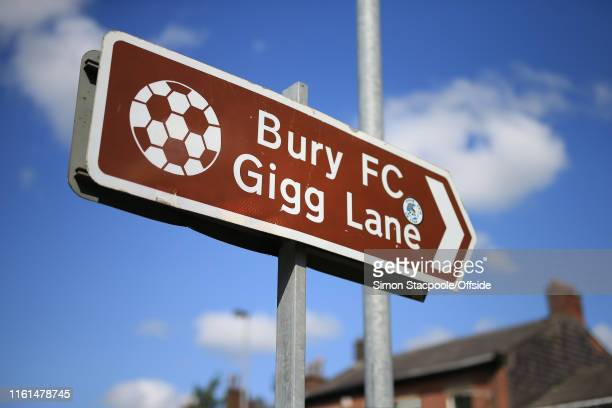 A general view of a road sign pointing towards Bury Football Club's stadium at Gigg Lane on August 13 2019 in Bury England