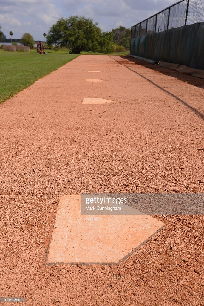A general view of a row of home plates during the Detroit Tigers Spring Training workouts at the TigerTown Facility on February 12, 2013 in Lakeland, Florida.