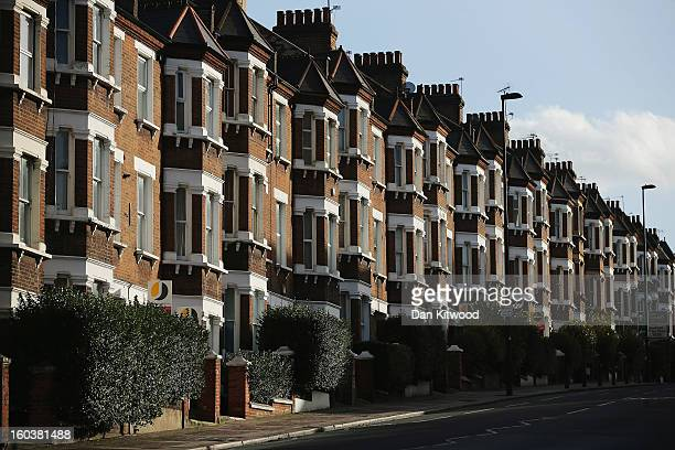 A general view of a row of houses near Battersea on January 30 2013 in London England According to a report from independent analysts Oxford...