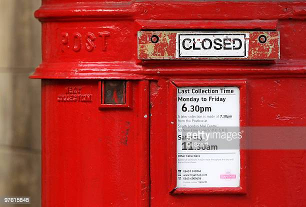 A general view of a Royal Mail post box in Westminster whose entry has been sealed with a closed plate on March 5 2010 in London England As the UK...