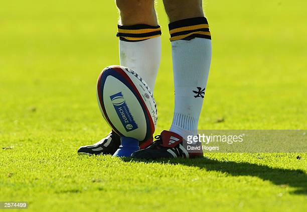 General view of a rugby ball on a tee during the Zurich Premiership match between Leeds Tykes and Bath on September 14 2003 at Headingley Leeds...