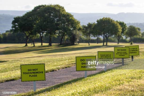 General view of a Safety sign at Bryn Meadows Golf Club as restrictions on playing golf in Wales have been eased but still differ to golf in England...