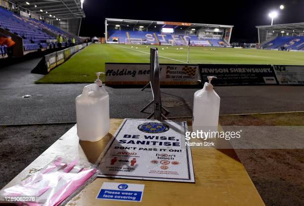 General view of a sanitizing station inside of the stadium ahead of the Sky Bet League One match between Shrewsbury Town and Accrington Stanley at...