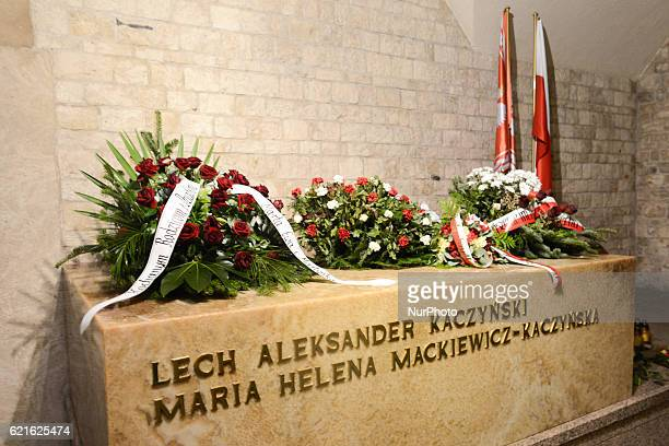 A general view of a sarcophagus where President Lech Kaczynski and First Lady Maria Kaczynska were laid in the antechamber of the Crypt Under the...