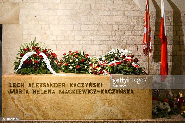 General view of a sarcophagus where President Lech Kaczynski and First Lady Maria Kaczynska were laid, placed in the antechamber of the Crypt Under...