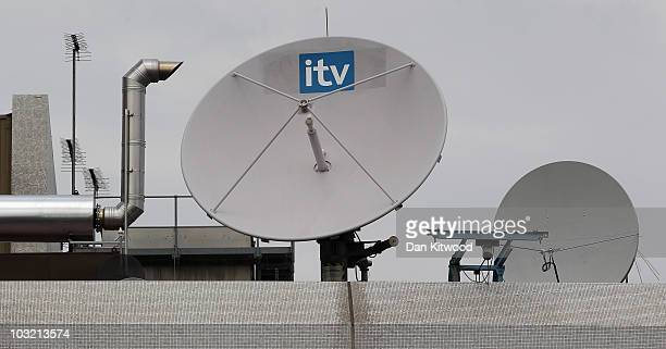 A general view of a satellite dish on the top of the ITV studio building on the South Bank on August 3 2010 in London England ITV is in the process...
