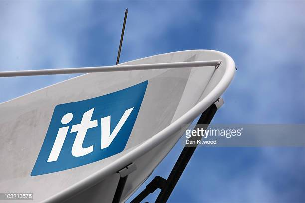 General view of a satellite dish on the top of the ITV studio building on the South Bank on August 3, 2010 in London, England. ITV is in the process...