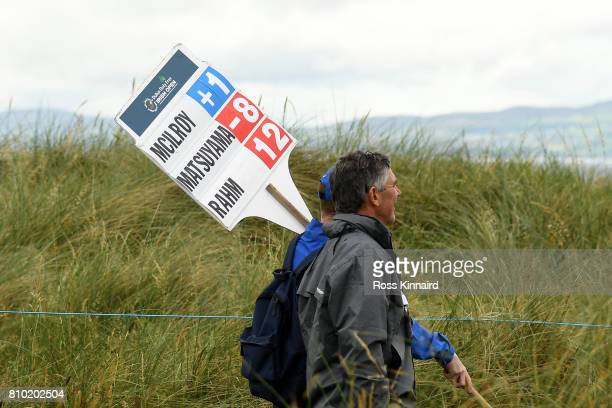 General View of a scoreboard showing the score of Rory McIlroy of Northern Ireland during day two of the Dubai Duty Free Irish Open at Portstewart...
