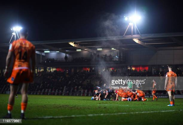 General view of a scrum as Francois Hougaard of Worcester Warriors holds the ball during the European Rugby Challenge Cup Round 4 match between...