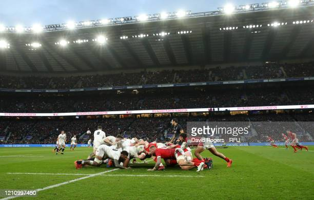 A general view of a scrum during the 2020 Guinness Six Nations match between England and Wales at Twickenham Stadium on March 07 2020 in London...