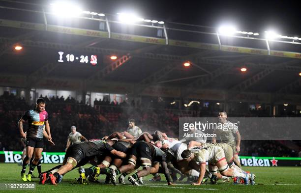 A general view of a scrum during the Heineken Champions Cup Round 4 match between Harlequins and Ulster Rugby at Twickenham Stoop on December 13 2019...