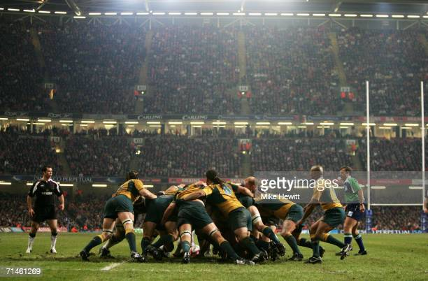 General view of a scrum during the Invesco Perpetual Series Rugby International match between Wales and Australia at the Millennium Stadium November...