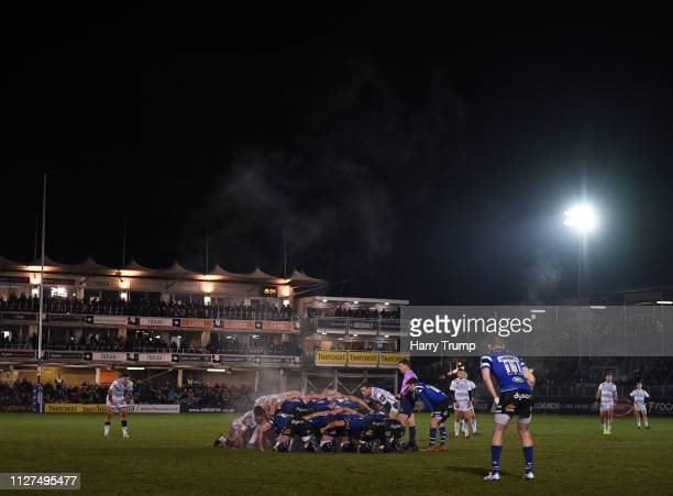 General view of a scrum during the Premiership Rugby Cup match between Bath Rugby and Gloucester Rugby at the Recreation Ground on February 04, 2019...