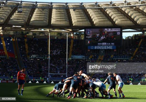 A general view of a scrum during the RBS Six Nations match between Italy and France at Stadio Olimpico on March 11 2017 in Rome Italy