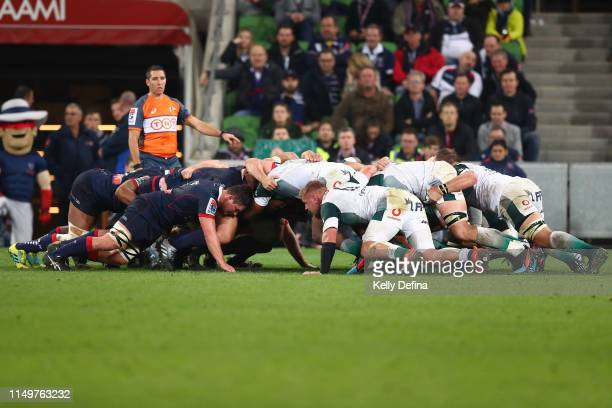 General view of a scrum during the round 14 Super Rugby match between the Rebels and Bulls at AAMI Park on May 17, 2019 in Melbourne, Australia.