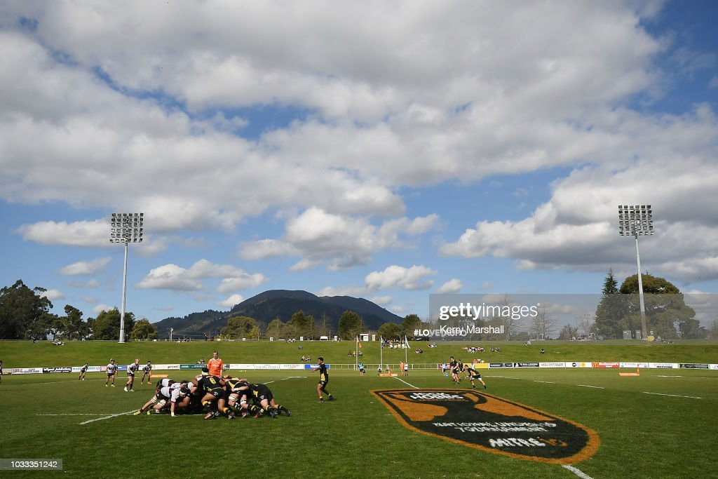 General view of a scrum in the Wellington vs North Harbour match during the Jock Hobbs U19 Rugby Tournament on September 15, 2018 in Taupo, New Zealand.