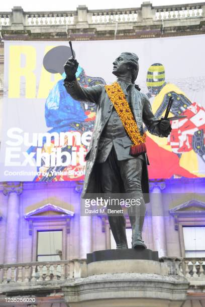 General view of a sculpture wearing a Burberry scarf at the Royal Academy of Arts Summer Exhibition 2021 Preview Party on September 14, 2021 in...