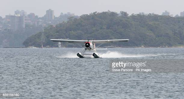 General view of a Sea Plane landing near Sydney Australia