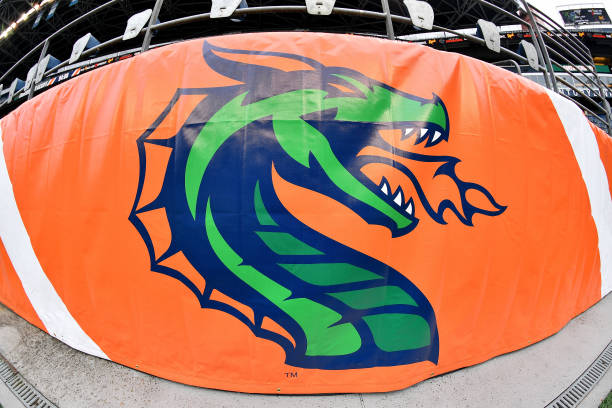 A general view of a Seattle Dragons banner at CenturyLink Field before the game between the Seattle Dragons and the Dallas Renegades at CenturyLink...