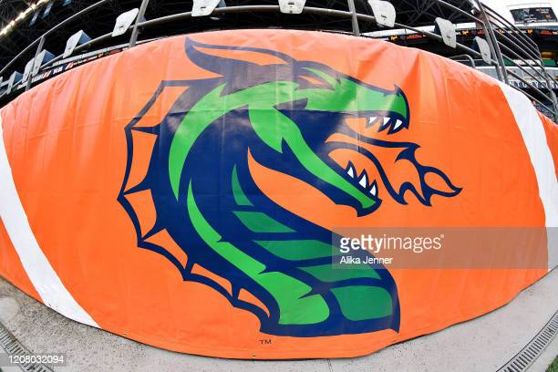 General view of a Seattle Dragons banner at CenturyLink Field before the game between the Seattle Dragons and the Dallas Renegades at CenturyLink...
