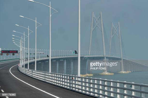 A general view of a section of the Hong KongZhuhaiMacau Bridge in Zhuhai on March 28 2018 Officials say the bridge billed as the world's longest sea...