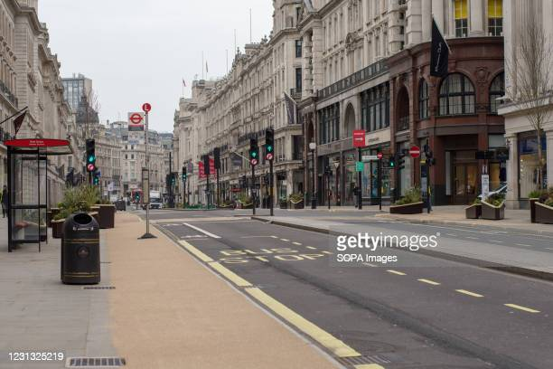 General view of a semi deserted Regent Street amid covid-19 pandemic.