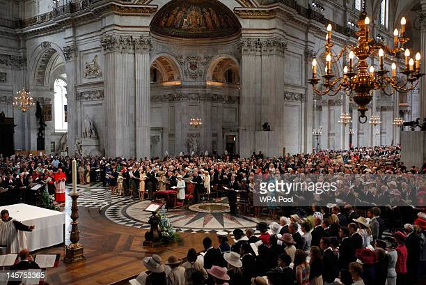 A general view of a service of thanksgiving to mark Queen Elizabeth II's Diamond Jubilee at St Paul's cathedral on June 5 2012 in London England For...