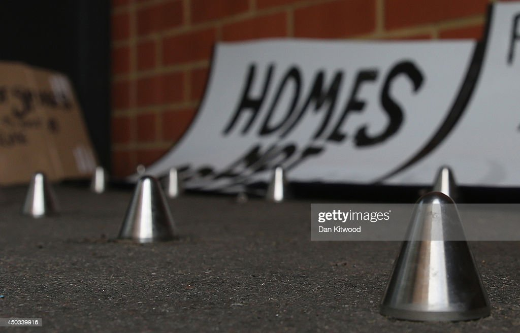 Spikes Installed Outside London Flats : News Photo
