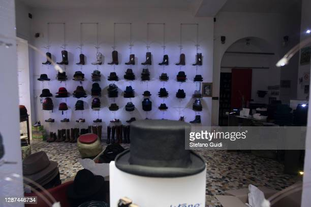 A general view of a shop for hats and leather closed in Via Barbaroux on November 24 2020 in Turin Italy Via Barbaroux is an old area in Turin which...