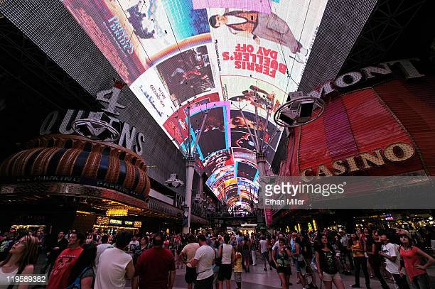 General view of a show playing on the Viva Vision LED screen canopy at the Fremont Street Experience July 19, 2011 in Las Vegas, Nevada.