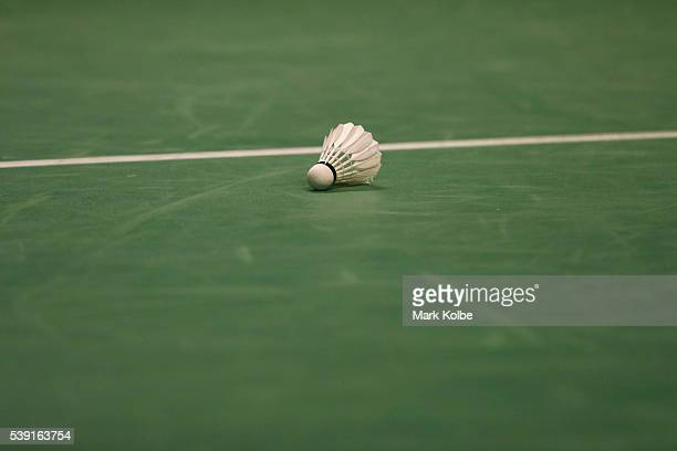 A general view of a shuttlecock is seen on the court during the 2016 Australian Badminton Open at Sydney Olympic Park Sports Centre on June 10 2016...