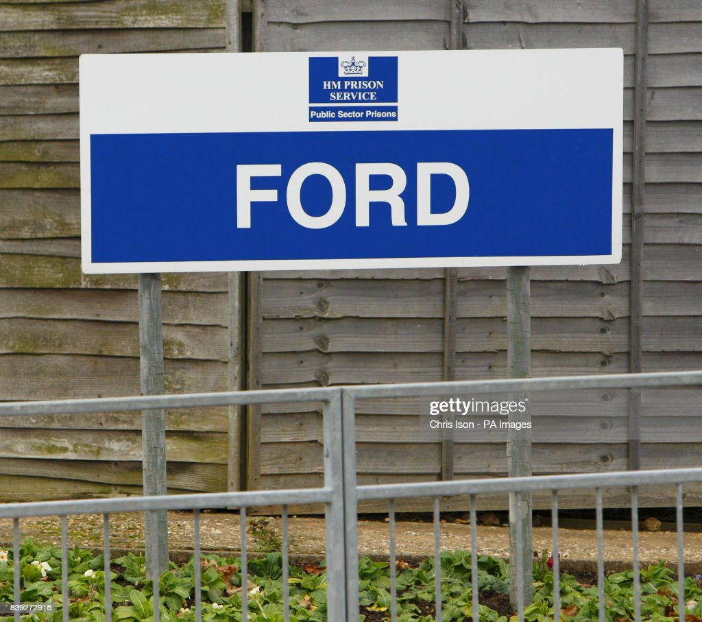 a general view of a sign at hmp ford near arundel west sussex