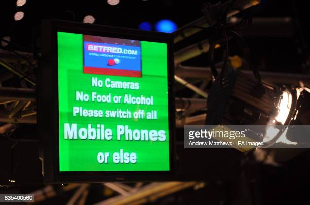 General view of a sign at the Crucible Theatre saying No Cameras Food or Alcohol and to switch off all Mobile phones