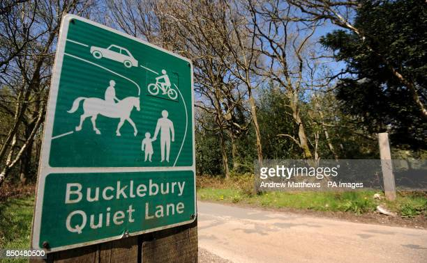 General view of a sign for the Bucklebury Quiet lane which cuts through Bucklebury Common towards Bucklebury Village in West Berkshire