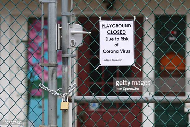 A general view of a sign indicating that the Playground is Closed due to the Corona Virus at Taylor Park on March 15 2020 in Millburn NJ