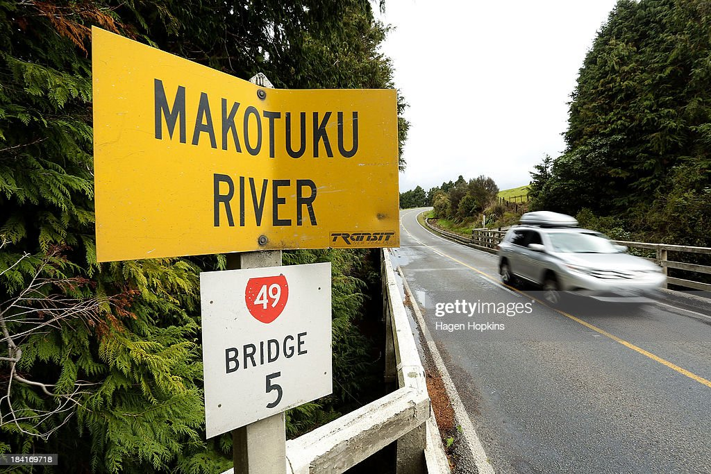 A general view of a sign marking the Makotuku River, which acts as the primary water sourse for the Raetihi township on October 12, 2013 in Raetihi, New Zealand. Work has begun to flush a stream contaminated by a large diesel spill at Tongariro National Park. A tank from the Turoa Ski Field has leaked 15,000 litres of diesel into the Makotuku stream.