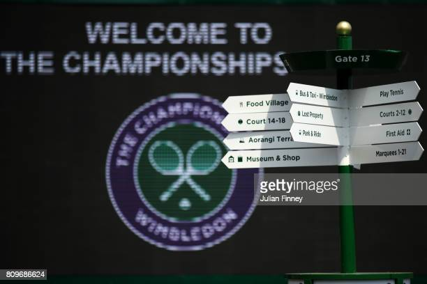 A general view of a sign on day four of the Wimbledon Lawn Tennis Championships at the All England Lawn Tennis and Croquet Club on July 6 2017 in...