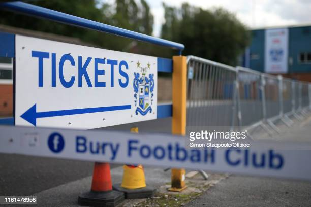 A general view of a sign pointing towards the ticket office at Bury Football Club's stadium at Gigg Lane on August 13 2019 in Bury England