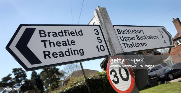 General view of a sign showing directions to Bucklebury Upper Bucklebury Bradfield and Reading