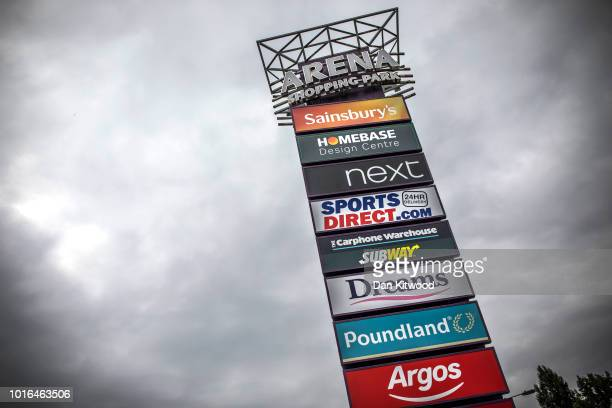 A general view of a sign with an array of retailers including Homebase in Harringay on August 14 2018 in London England The home and garden retailer...
