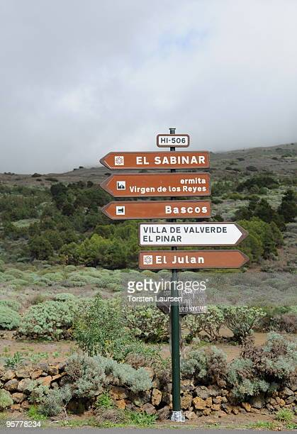 A general view of a signpost on El Hierro Island January 13 2010 in El Hierro Island Spain The island inspired and features in the new film 'Hierro'...