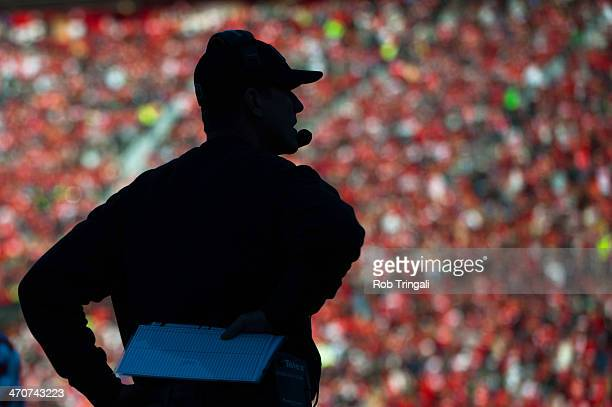 A general view of a silhouette of head coach Jim Harbaugh of the San Francisco 49ers during the game against the Seattle Seahawks at Candlestick Park...