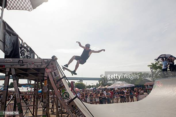 A general view of a Skateboarder on the MiniRamp during the 2011 Vans Warped Tour at the Marcus Amphitheater on July 19 2011 in Milwaukee Wisconsin