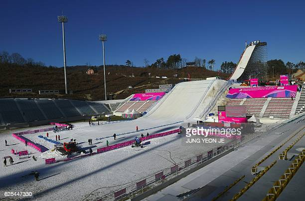 A general view of a snowboard jump slope during a practice session for the FIS Snowboard World Cup Big Air event at Alpensia Ski Jumping Centre in...