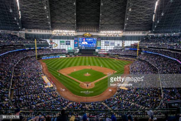 A general view of a sold out Miller Park during a MLB game between the St Louis Cardinals and the Milwaukee Brewers on April 2nd 2018 at the Miller...